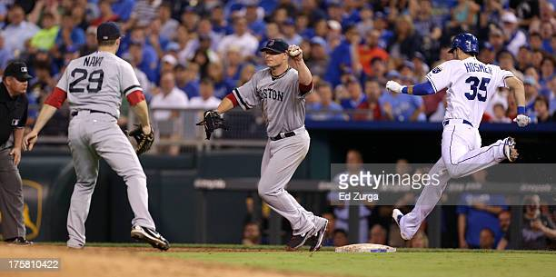 Jon Lester of the Boston Red Sox takes the throw from Daniel Nava as Eric Hosmer of the Kansas City Royals reaches for first in the the fifth inning...