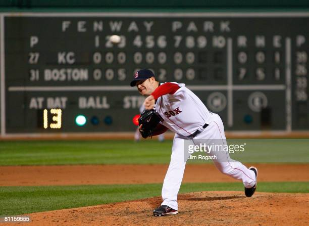 Jon Lester of the Boston Red Sox throws in the ninth against the Kansas City Royals at Fenway Park on May 19 2008 in Boston Massachusetts Lester...