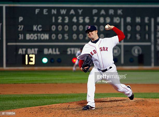 Jon Lester of the Boston Red Sox throws the final pitch for a no hitter against the Kansas City Royals at Fenway Park on May 19 2008 in Boston...