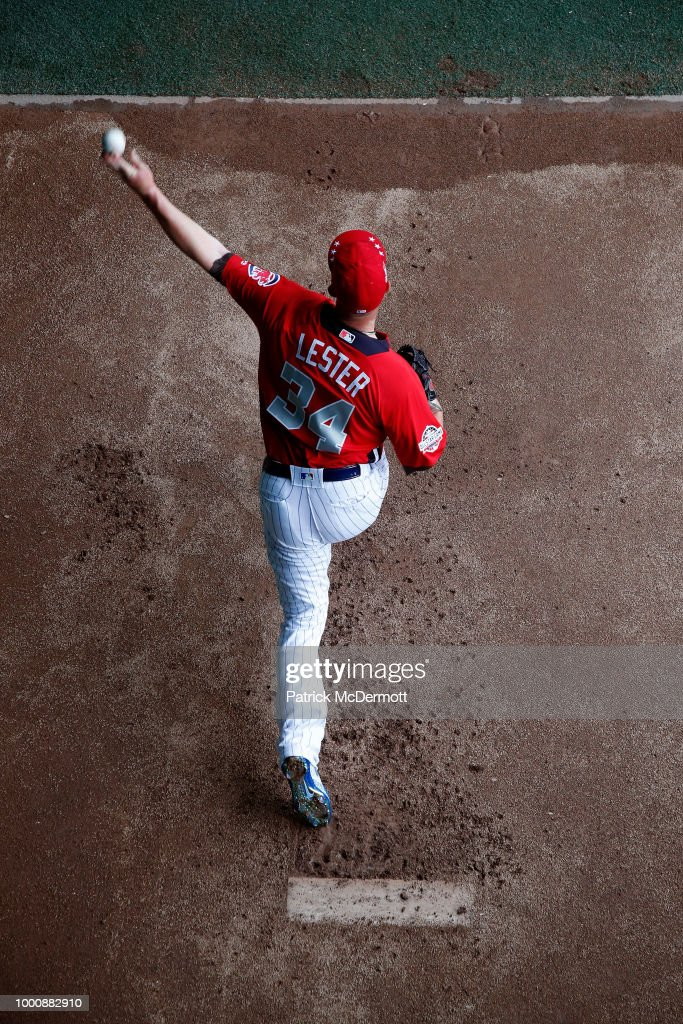 Jon Lester #34 of the Chicago Cubs and the National League warms up before the 89th MLB All-Star Game, presented by Mastercard at Nationals Park on July 17, 2018 in Washington, DC.