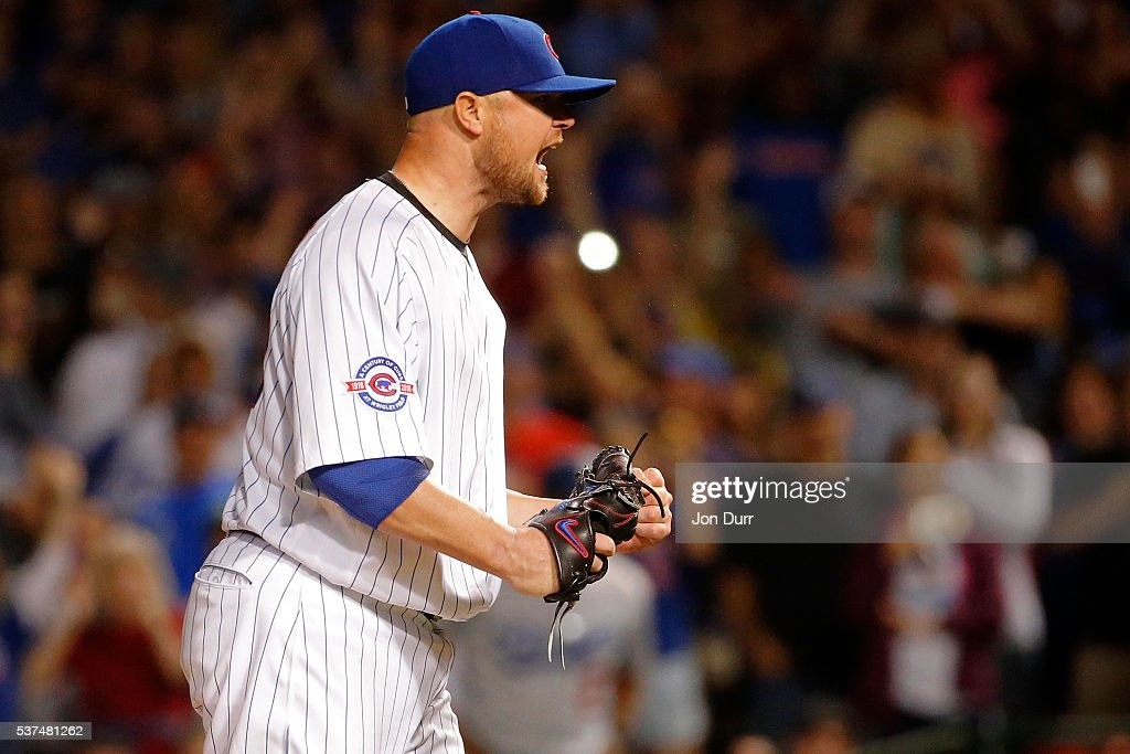 Jon Lester #34 of the Chicago Cubs celebrates after pitching a complete game for the win against the Los Angeles Dodgers at Wrigley Field on June 1, 2016 in Chicago, Illinois. The Chicago Cubs won 2-1.