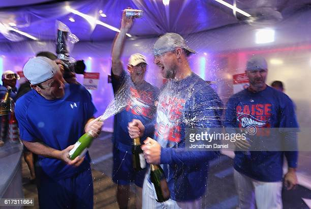Jon Lester of the Chicago Cubs celebrates in the clubhouse after defeating the Los Angeles Dodgers 50 in game six of the National League Championship...