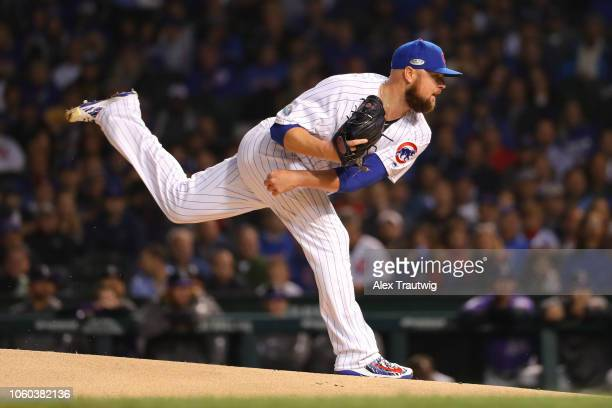 Jon Lester of the Chicago Cubs pitches during the National League Wild Card game against the Colorado Rockies at Wrigley Field on Tuesday October 2...