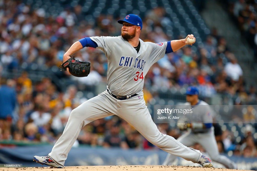 Jon Lester #34 of the Chicago Cubs pitches in the first inning against the Pittsburgh Pirates at PNC Park on July 31, 2018 in Pittsburgh, Pennsylvania.