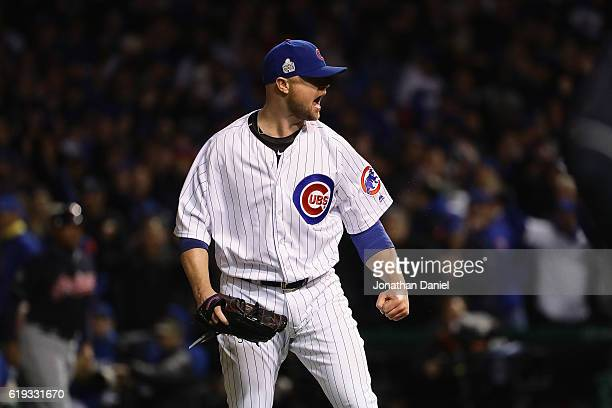 Jon Lester of the Chicago Cubs reacts after pitching in the fifth inning against the Cleveland Indians in Game Five of the 2016 World Series at...