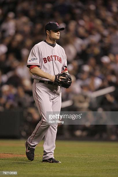 Jon Lester the Boston Red Sox walks off the field during Game Four of the 2007 World Series against the Colorado Rockies on October 28 2007 at Coors...