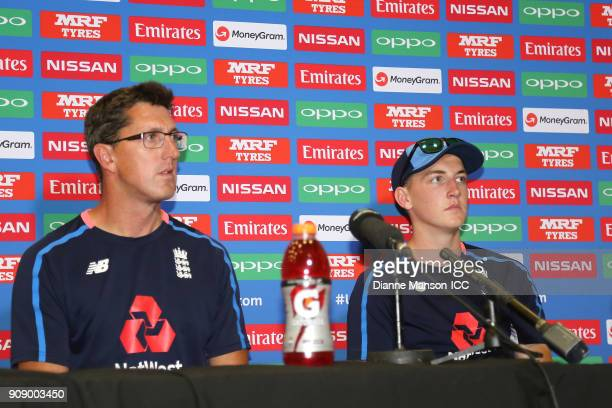 Jon Lewis coach of England and captain Harry Brook speak to media at the press conference after the ICC U19 Cricket World Cup Quarter Final match...