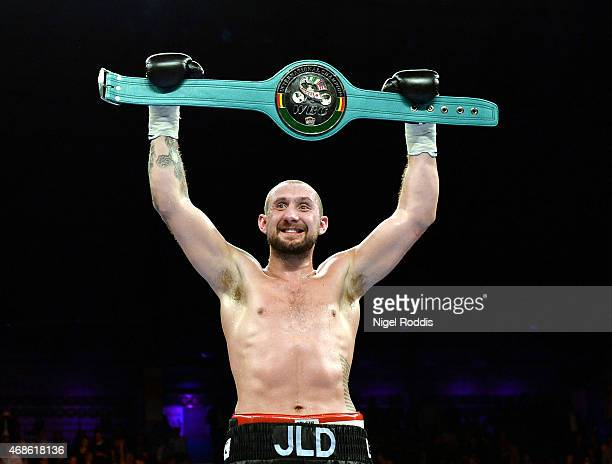 Jon Lewis Dickinson reacts after beating Stephen Simmons in their WBC International Silver Cruiserweight Championship boxing contest at the Metro...
