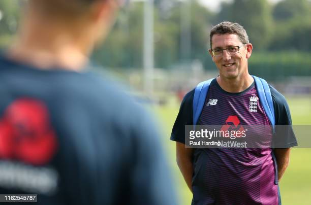 Jon Lewis England U19 Head Coach during the England Under 19's Nets training session at National Cricket Performance Centre on July 17 2019 in...