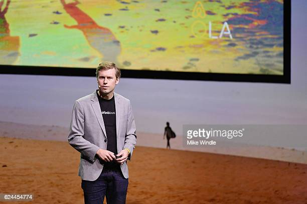 Jon Liebtag Business Travel Lead Airbnb speaks onstage at Are You Ready for Business at the Los Angeles Theatre during Airbnb Open LA Day 3 on...