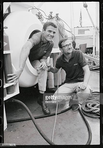 Jon Lindbergh , son of famed aviator Charles Lindbergh, and Belgian writer-explorer Robert Stenuit re-enact their exit from a compression chamber in...