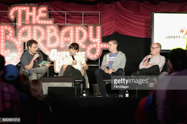Jon Lovett Natalie Morales guest and Todd Barry of Lovett Or Leave It speak on The Barbary Stage during the 2017 Outside Lands Music And Arts...