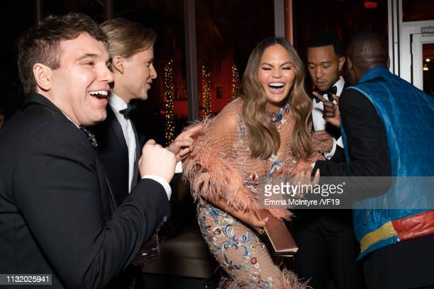 Jon Lovett Ronan Farrow Chrissy Teigen and John Legend attend the 2019 Vanity Fair Oscar Party hosted by Radhika Jones at Wallis Annenberg Center for...