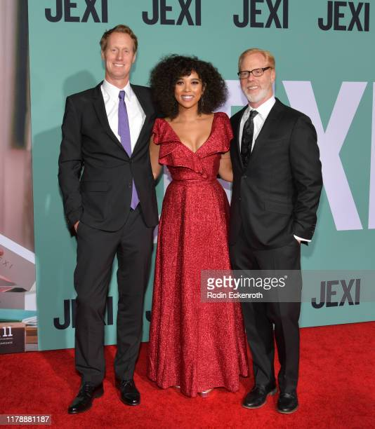 """Jon Lucas, Alexandra Shipp, and Scott Moore attend the premiere of Lionsgate's """"Jexi"""" at Fox Bruin Theatre on October 03, 2019 in Los Angeles,..."""