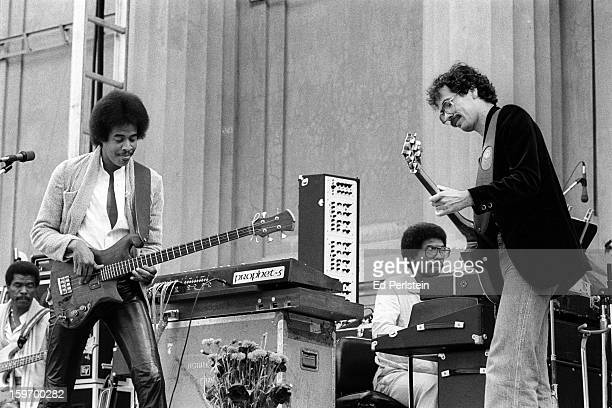 Jon Lucien, Stanley Clarke, Herbie Hancock and Carlos Santana perform during the Berkeley Jazz Festival at the Greek Theatre in May 1980 in Berkeley,...