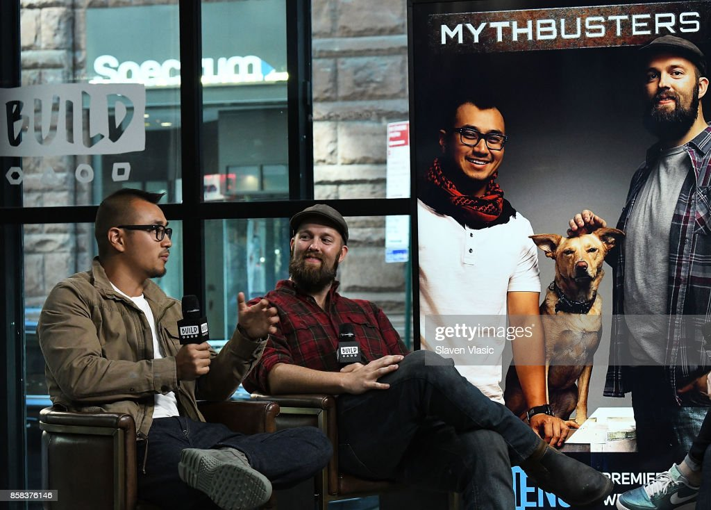 Jon Lung (L) and Brian Louden visit Build to discuss 'MythBusters' at Build Studio on October 6, 2017 in New York City.