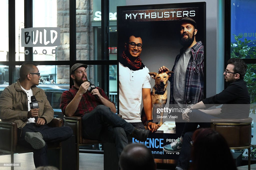 Jon Lung (L) and Brian Louden (C) visit Build to discuss 'MythBusters' at Build Studio on October 6, 2017 in New York City.