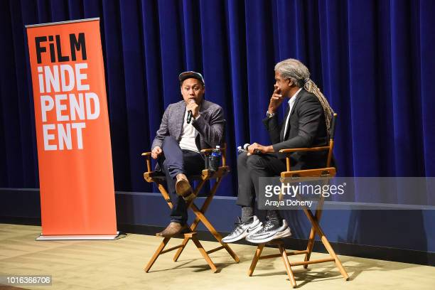 Jon M Chu and Elvis Mitchell attend Film Independent presents special screening of 'Crazy Rich Asians' at The WGA Theater on August 13 2018 in...