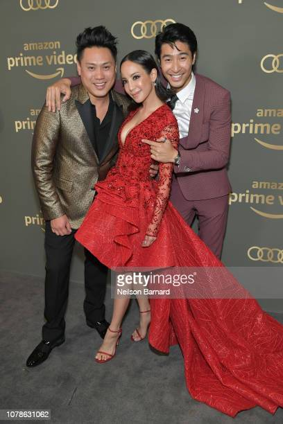 Jon M Chu Fiona Xie and Chris Pang attend the Amazon Prime Video's Golden Globe Awards After Party at The Beverly Hilton Hotel on January 6 2019 in...