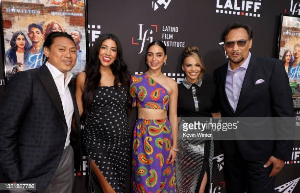 """Jon M. Chu, Stephanie Beatriz, Melissa Barrera, Leslie Grace, and Jimmy Smits attend the special preview screening of """"In The Heights"""" during the..."""