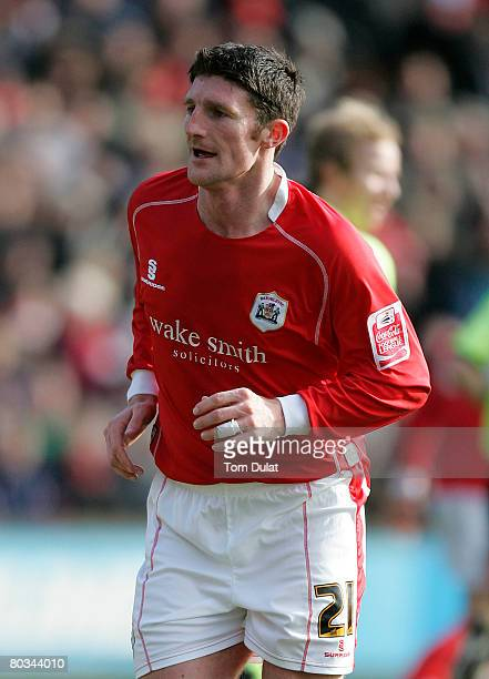 Jon Macken of Barnsley in action during the Coca Cola Championship match between Barnsley v Sheffield United at the Oakwell Stadium on March 22 2008...