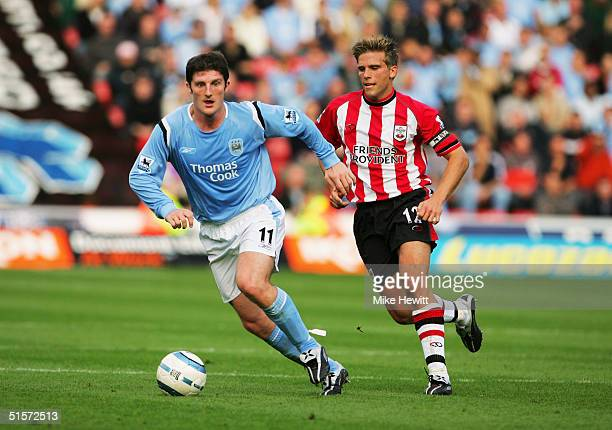 Jon Macken of Manchester City during the Barclays Premiership match between Southampton and Manchester City on October 2 2004 at St Mary's Stadium in...