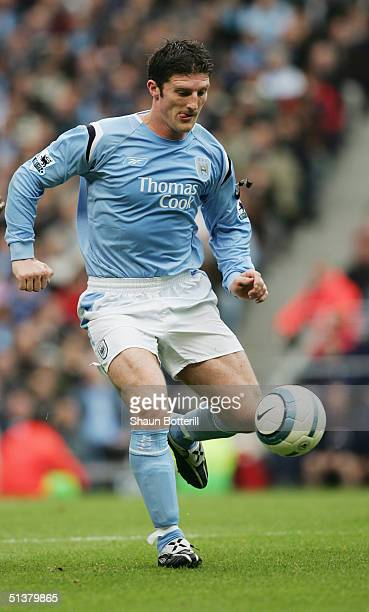 Jon Macken of Manchester City in action during the Barclays Premiership match between Manchester City and Arsenal at the City of Manchester Stadium...