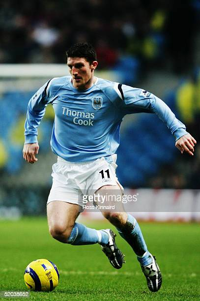 Jon Macken of Manchester City in action during the Barclays Premiership match between Manchester City and Crystal Palace at the City of Manchester...