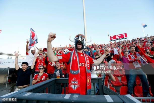 TORONTO ON AUGUST 23 Jon Mandrozos of the Red Patch Boys celebrates after a goal in the 1st half of MLS action as the Toronto FC host the Chicago...