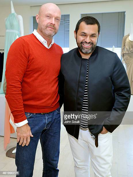 Jon Matson and Designer Juan Carlos Obando attend Juan Carlos Obando and his exclusive eveningwear collection hosted by Barneys New York at Barneys...