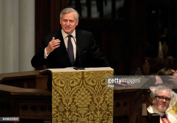 Jon Meacham speaks during a funeral service for former first lady Barbara Bush at St Martin's Episcopal Church April 21 2018 in Houston Texas Bush...