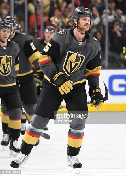 Jon Merrill of the Vegas Golden Knights celebrates after scoring a goal during the second period against the Florida Panthers at TMobile Arena on...