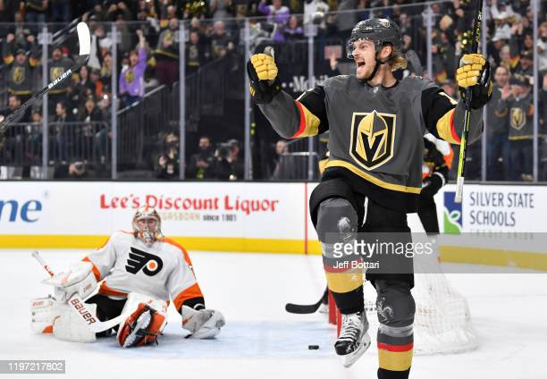 Jon Merrill of the Vegas Golden Knights celebrates after scoring a goal during the first period against the Philadelphia Flyers at TMobile Arena on...