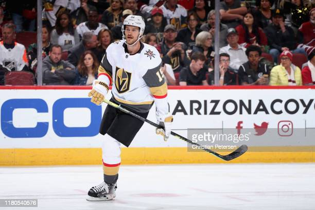Jon Merrill of the Vegas Golden Knights during the third period of the NHL game against the Arizona Coyotes at Gila River Arena on October 10 2019 in...
