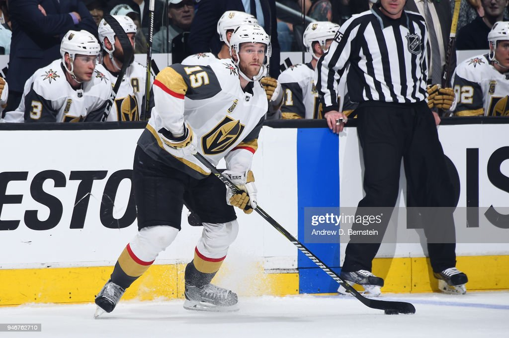 Jon Merrill #15 of the Vegas Golden Knights handles the puck against the Los Angeles Kings in Game Three of the Western Conference First Round during the 2018 NHL Stanley Cup Playoffs at STAPLES Center on April 15, 2018 in Los Angeles, California.