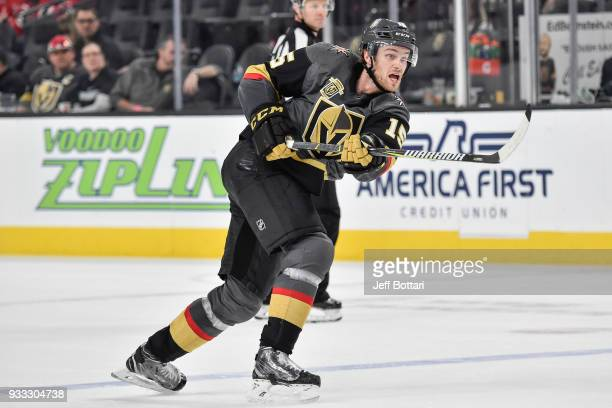 Jon Merrill of the Vegas Golden Knights shoots the puck against the New Jersey Devils during the game at TMobile Arena on March 14 2018 in Las Vegas...