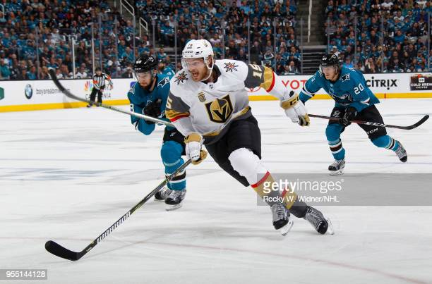 Jon Merrill of the Vegas Golden Knights skates against Melker Karlsson of the San Jose Sharks in Game Four of the Western Conference Second Round...