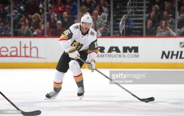 Jon Merrill of the Vegas Golden Knights skates against the Colorado Avalanche at the Pepsi Center on March 27 2019 in Denver Colorado The Avalanche...