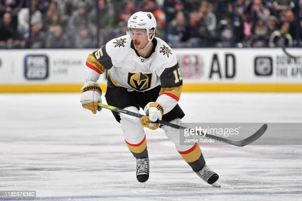 Jon Merrill of the Vegas Golden Knights skates against the Columbus Blue Jackets on November 5 2019 at Nationwide Arena in Columbus Ohio