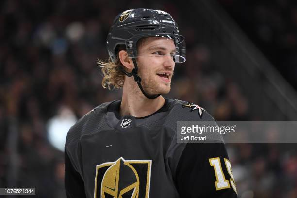 Jon Merrill of the Vegas Golden Knights skates against the Los Angeles Kings during a game at TMobile Arena on January 1 2019 in Las Vegas Nevada
