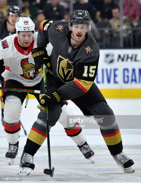 Jon Merrill of the Vegas Golden Knights skates during the first period against the Ottawa Senators at TMobile Arena on October 17 2019 in Las Vegas...