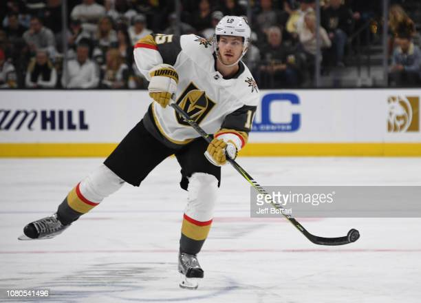 Jon Merrill of the Vegas Golden Knights skates during the second period against the San Jose Sharks at TMobile Arena on January 10 2019 in Las Vegas...