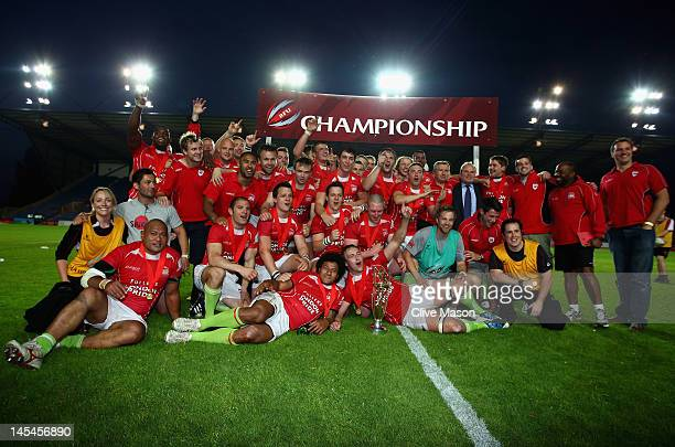 Jon Mills of London Welsh celebrates with the trophy after victory during the RFU Championship Playoff 2nd leg match between London Welsh and Cornish...