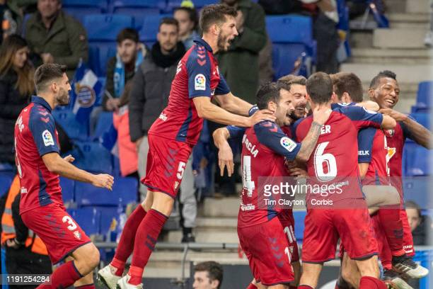 Jon Moncayola of Osasuna is congratulated by team mates after scoring his sides third goal during the Espanyol V Osasuna La Liga regular season match...