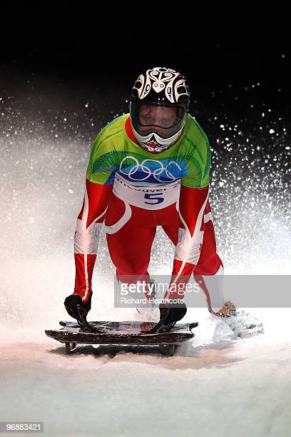 Jon Montgomery of Canada competes in the men's skeleton fourth heat on day 8 of the 2010 Vancouver Winter Olympics at the Whistler Sliding Centre on...