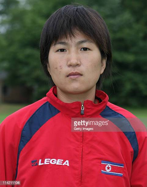 Jon Myong Hui during the photo call of North Korea for the FIFA Women's World Cup 2011 at Sportsschule Wedau on May 16 2011 in Duisburg Germany