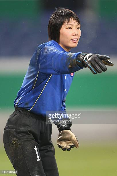 Jon Myong Hui of North Korea issues instructions during the Women's international friendly match between Germany and North Korea at the MSV Arena on...
