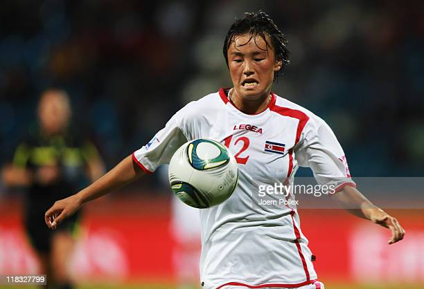 Jon Myong Hwa of Korea DPR controls the ball during the FIFA Women's World Cup 2011 Group C match between Korea DPR and Colombia at Rewirpower...