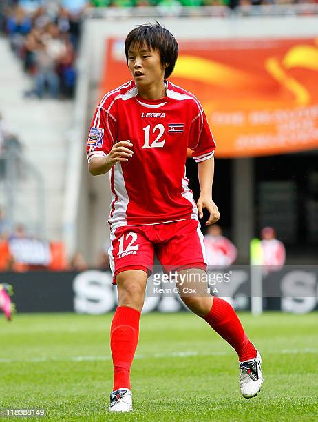Jon Myong Hwa of Korea DPR during the FIFA Women's World Cup 2011 Group C match between North Korea and Sweden at FIFA World Cup Stadium Augsburg on...