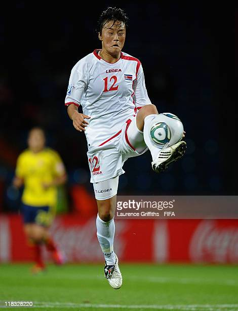 Jon Myong Hwa of Korea DPR in action during the FIFA Women's World Cup 2011 match between Korea DPR and Colombia at the Fifa Womens World Cup Stadium...